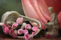 Picture girl, flowers, basket, roses, fabric, figurine