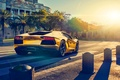 Picture Color, Lamborghini, LP700-4, Aventador, Gold, Sun, Sunset, Back, Supercar