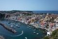 Picture sea, coast, building, Bay, boats, port, Italy, boats, promenade, Italy, Campania, harbour, The Bay of ...