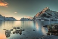 Picture the sky, snow, landscape, mountains, shore, Norway