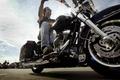 Picture biker, motorcycle, Harley Davidson