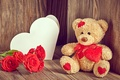Picture flowers, Valentine's day, Teddy, love, roses, romantic, bear, roses, love, heart, bear