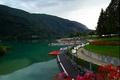 Picture Italy, Promenade, Molveno, Italia, boats, lake, boats, Molveno, mountain, Italy, mountain