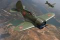 Picture Soviet, flight, art, single-engine, figure, fighter - diskoplana, high speed, I-16 (TSKB-12), piston, the sky, ...