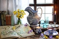 Picture flowers, books, tea, window, Cup, periwinkle, Krokus, still life, candle, bottle, glasses, Narcissus, pitcher