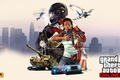 Picture girl, machine, the city, weapons, collage, police, aircraft, helicopter, tank, helmet, poster, GTA, Grand Theft ...