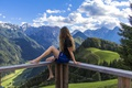 Picture forest, summer, the sky, girl, clouds, trees, landscape, mountains, shorts, height, valley, Alps, t-shirt, brown ...