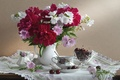 Picture flowers, cherry, dishes, vase