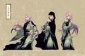 Picture zantetsu, visual novel, ken Kim GA, braids, kimono, pink hair, grey background, characters, chain