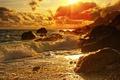 Picture sea, sunset, stones, coast, surf