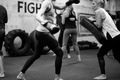 Picture kickboxing, white and black, training