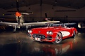 Picture red, tuning, Corvette, Chevrolet, hangar, twilight, Chevrolet, drives, classic, tuning, the front, aircraft, custom, Corvette, ...