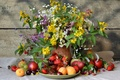 Picture summer, flowers, berries, raspberry, Apple, bouquet, strawberries, strawberry, grapes, pear, pitcher, fruit, still life, plum, ...
