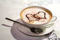 Picture table, Cup, white, coffee, love, heart, tablecloth, spoon