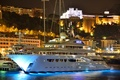 Picture night, city, the city, castle, mountain, home, the evening, port, helicopter, Monaco, Palace, night, Monaco, ...