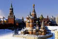 Picture winter, snow, Moscow, the Kremlin, St. Basil's Cathedral, Pokrovsky Cathedral