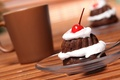 Picture cherry, glass, food, chocolate, plate, spoon, plate, glass, cake, cake, cream, dessert, food, sweet, chocolate, ...