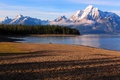 Picture lake, the sky, snow, mountains, trees, shore, clouds
