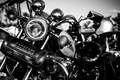Picture chrome, motorcycle, metal, white and black, leather handbag, lights