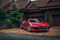 Picture house, red, garage, audi