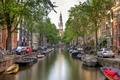 Picture bridge, Amsterdam, bikes, home, trees, machine, the city, Amsterdam, boats, water, channel, Nederland, Netherlands, building, ...