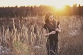 Picture light, field, girl