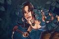 Picture Lara Croft, Tomb Raider, leaves, forest, Lara Croft