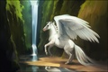 Picture Pegasus, water, wings, waterfall, fiction, horse, river